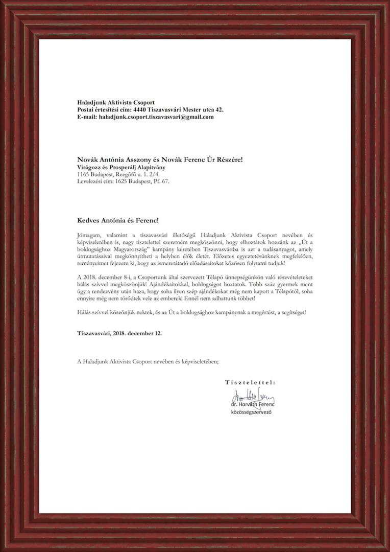 Virágozz és Prosperálj Alapítvány köszönő levél